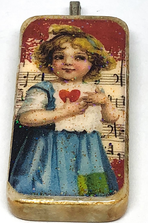 Red Vintage Music Background with Valentine Girl Altered Art Domino Pendant
