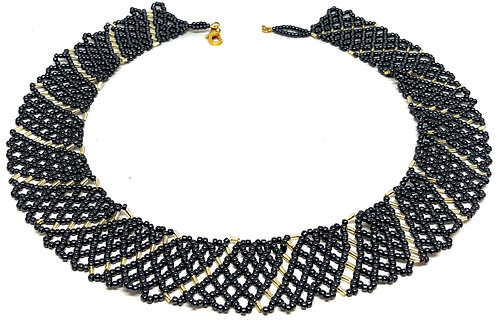 Black Gold Netting Beadweaving Necklace