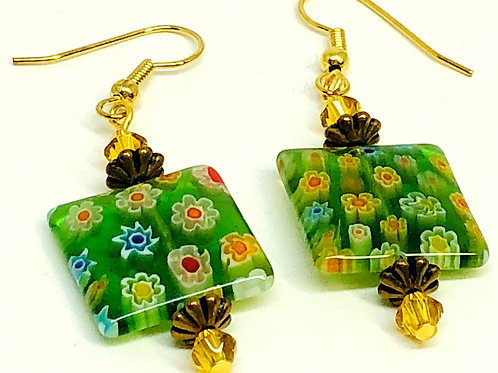Green Floral Square with Bicones Beaded Earrings