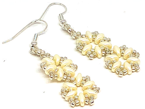 Pearl Silver Double Snowflake Earrings