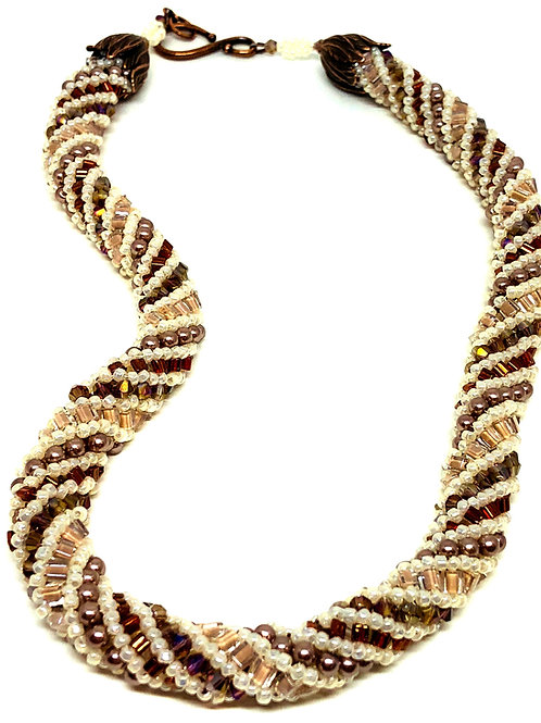 Mauve White Russian Spiral Beadweaving Necklace