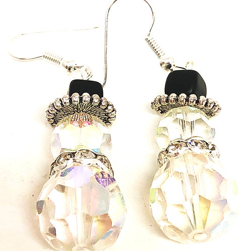 Large Crystal Snowman with Rhinestone Scarf Earrings