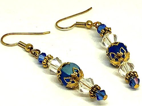 Blue Gold Filigree Crystal Bead Earrings