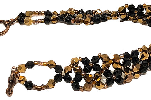 Bronze Black Right Angle Weave Beadweaving Bracelet