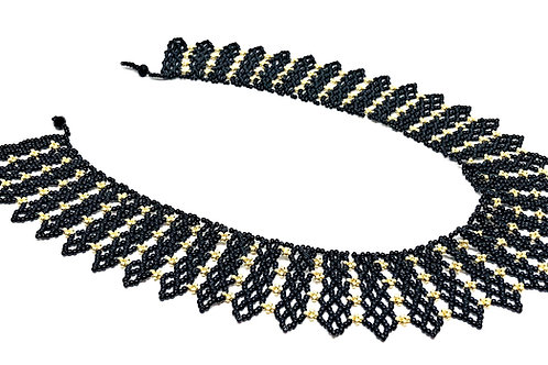 Black Gold Spike Beadweaving Necklace