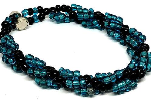 Teal Black Spiral Beadweaving Bracelet