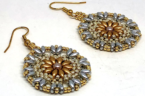 Silver Gold Medallion Beadweaving Earrings