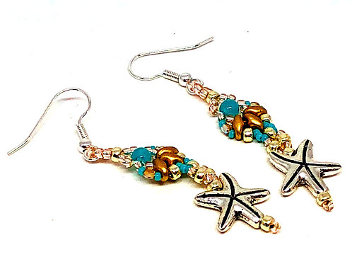 Turquoise Gold Silver Shell Star Fish Earrings