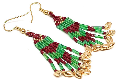 Green Cranberry Red Gold Fringe Earrings