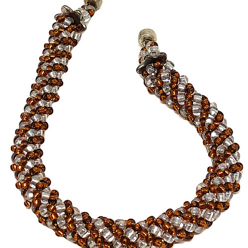 Crystal Rust Russian Spiral Beadweaving Bracelet