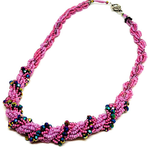 Purple Pink Double Spiral Necklace