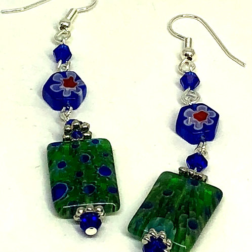 Green Blue Rectangle with Round Blue Flower Bead Earrings