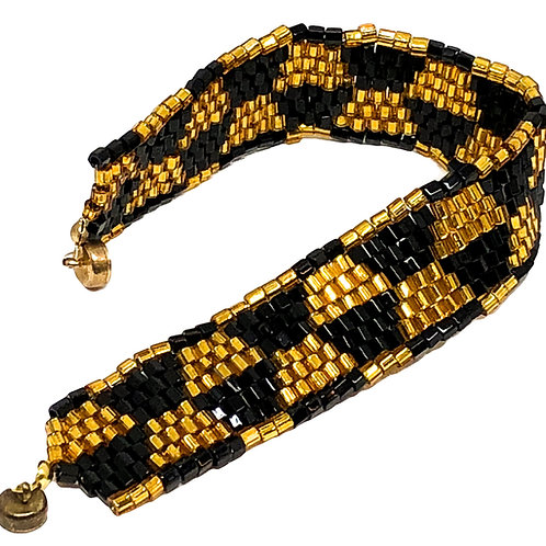 Gold Black Square Stitch Beadweaving Bracelet