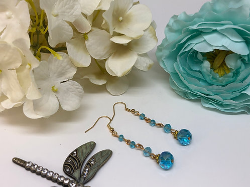 Aqua Multi Drop Dangle Earrings