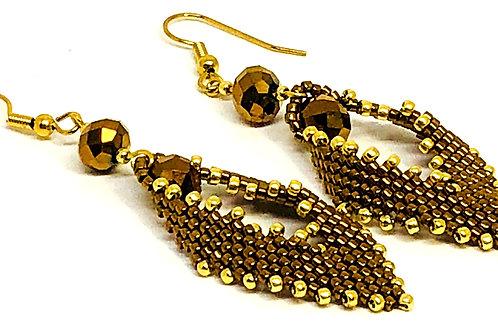 Bronze Gold Russian Leaf Earrings