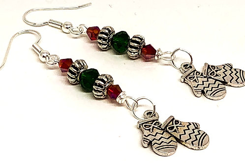 Red Green Christmas Mitten Charm Earrings