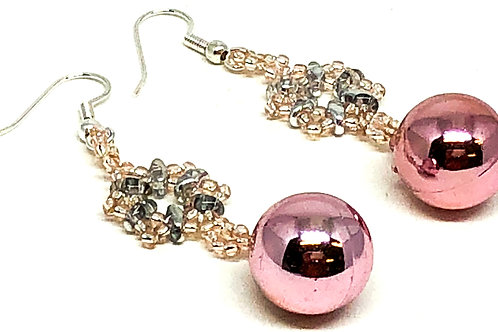 Pink Snowflake Christmas Ornament Earrings