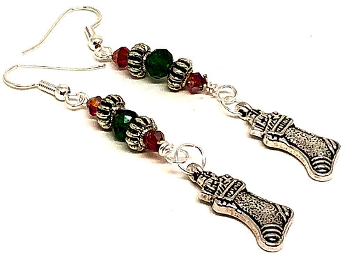 Red Green Christmas Stocking Charm Earrings