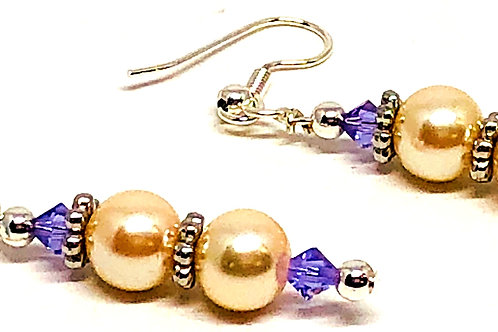Silver Pearl Purple Dangle Earrings