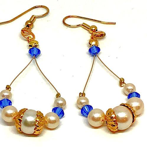 Pearl Blue Bicone Oval Dangle Plain Gold Bead Cap Bead Earrings
