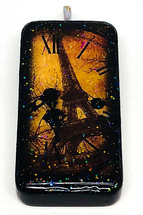 Brown Vintage Clock Background with Eiffel Tower Altered Art Domino Pendant