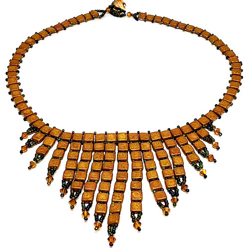 Gold Metallic TIle Beadweaving Spike Statement Necklace
