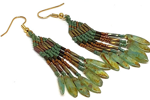 Green Bronze Green Dagger Fringe Earrings