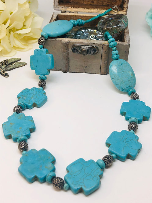 Large Chunky Turquoise Cross Oval Necklace
