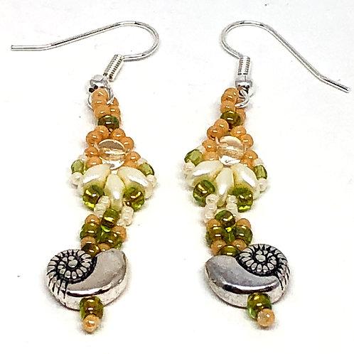 Peach Cream Shell Sea Shell Earrings