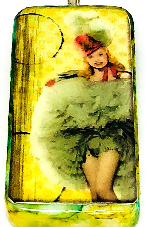 Green Vintage Background with Girl in Green Dress Altered Art Domino Pendant
