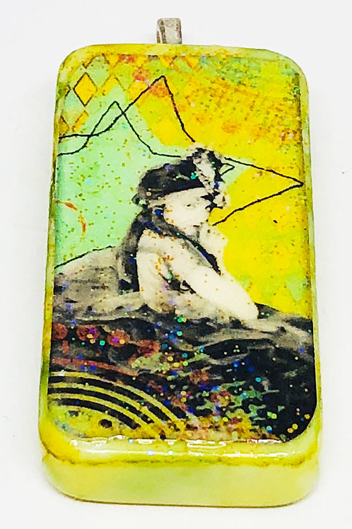 Green Vintage Girl With Yellow Background Altered Art Domino Pendant