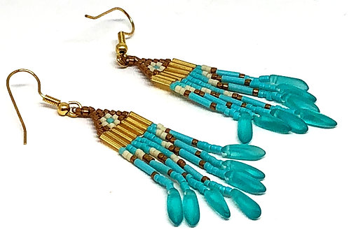 Turquoise Bronze with Turquoise Dagger Fringe Earrings
