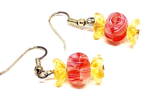 Red Gold Christmas Candy Beaded Earrings