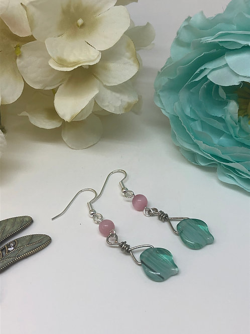 Green Leaf and Pink Cats Eye Wire Wrap Dangle Earrings