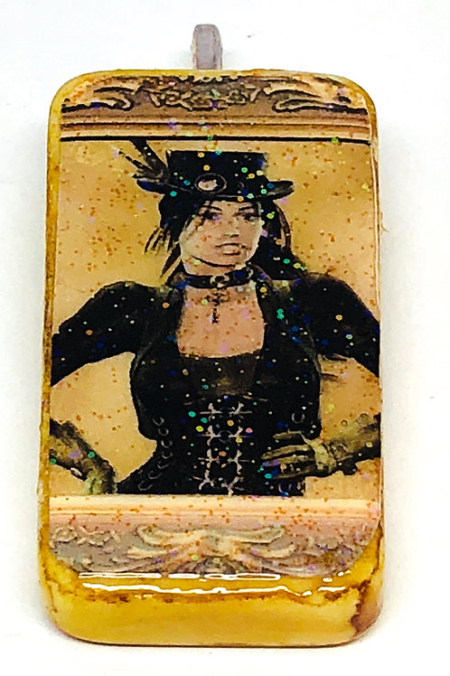 Brown Vintage Background with Steampunk Girl Altered Art Domino Pendant