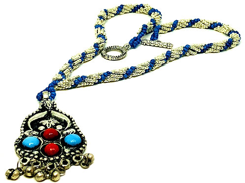 Blue Silver Spiral with Pendant Necklace