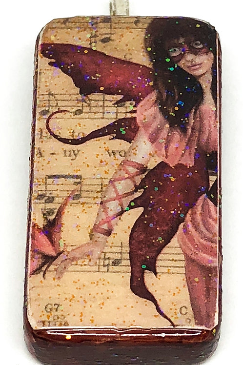 Vintage Music Background with Purple Fairy Altered Art Domino Pendant