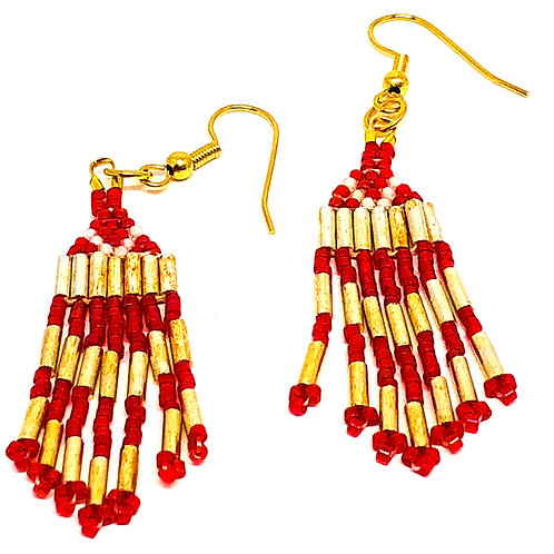 Red Gold Fringe Earrings