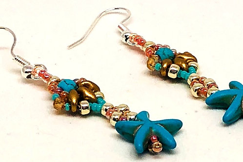 Turquoise Gold Silver Shell Turquoise Starfish Earrings