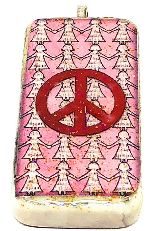 Pink Girl Background with Peace Sign Altered Art Domino Pendant