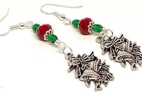 Green Red Christmas Bell Charm Earrings