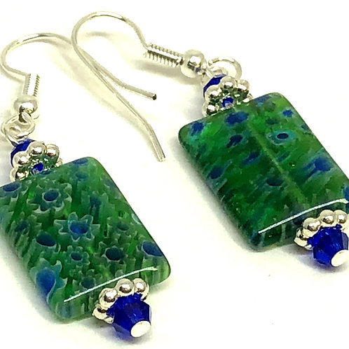 Green Blue Rectangle with Silver Spacer Beads Earrings