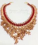 Red Rose Gold Fringing Beadweaving Neckl