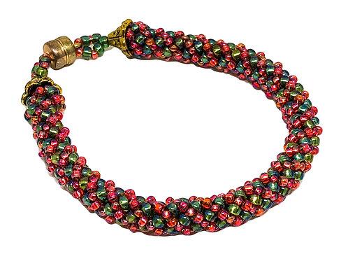 Cranberry Forest Green Russian Spiral Beadweaving Bracelet