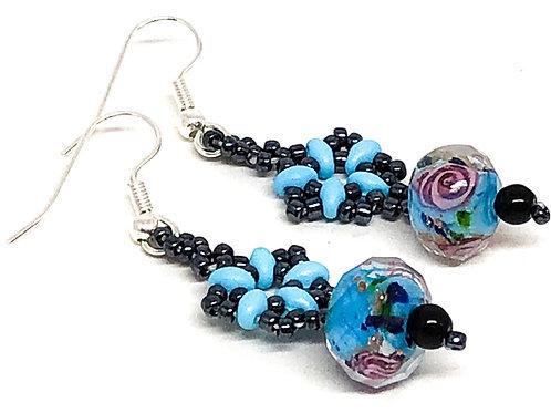 Turquoise Black Beadweaving Rose Flower Earrings