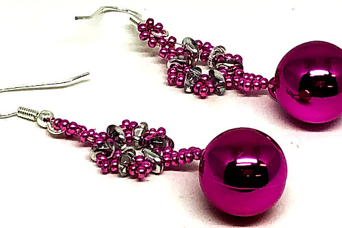 Hot Pink Snowflake Christmas Ornament Earrings