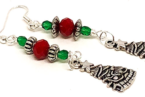 Red Green Christmas Tree Charm Earrings