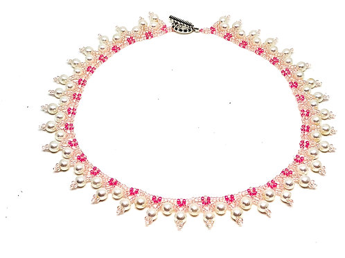 Pink Pearl Netting Beadweaving Necklace