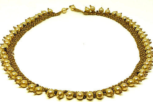 Gold and Pearl Beadweaving Necklace