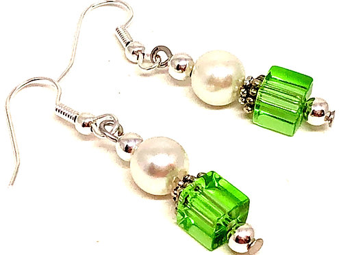 Pearl Green Cube Bead Earrings